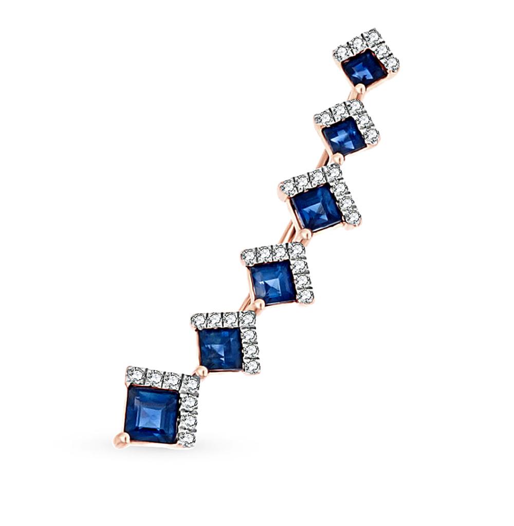 Фото «золотая серьга с бриллиантами и сапфирами»