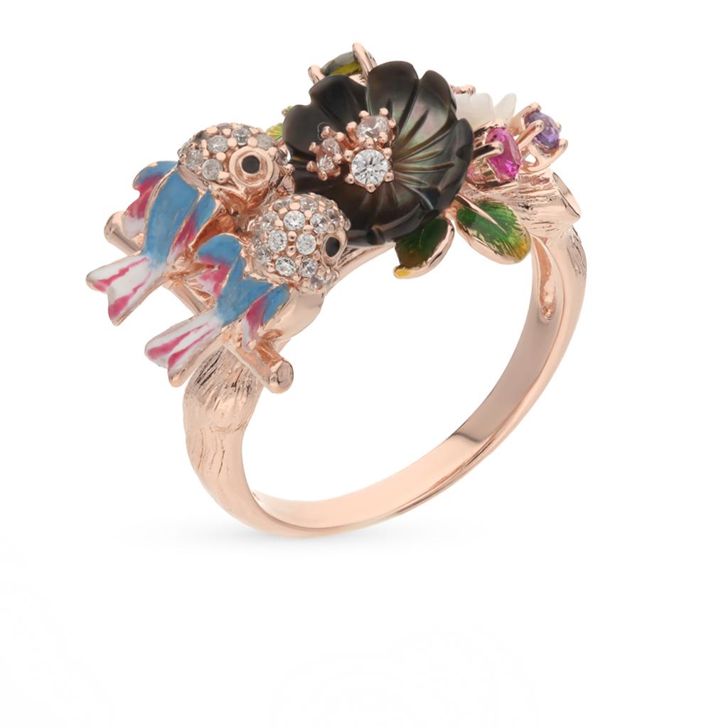 Фото «кольцо с сапфирами синтетическими, фианитами и перламутром»