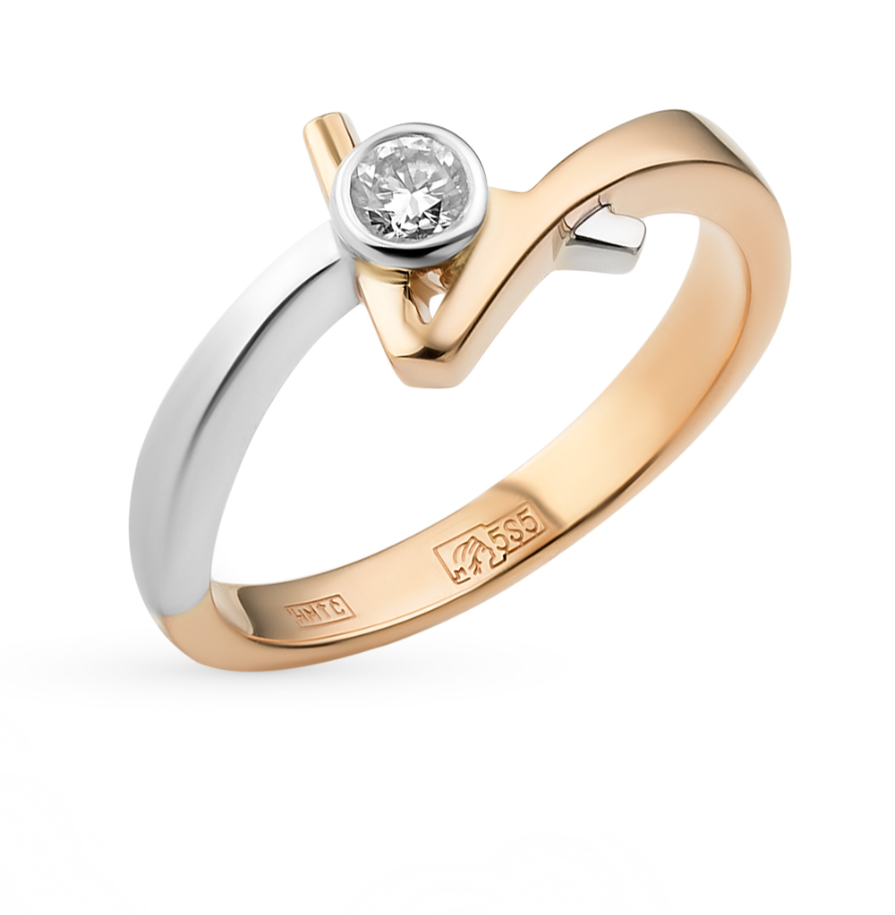 Фото «золотое кольцо с бриллиантами и фианитами»