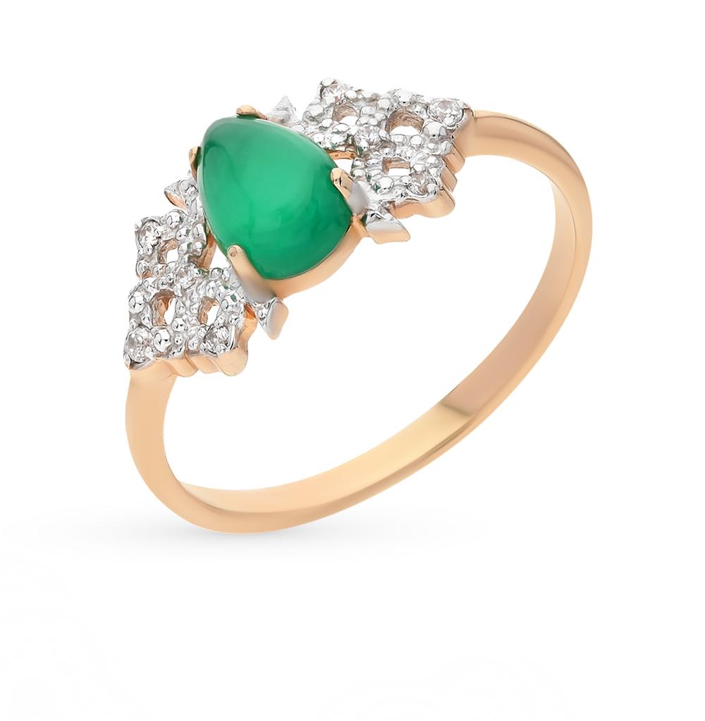 Фото «золото кольцо с хризопразами и фианитами»