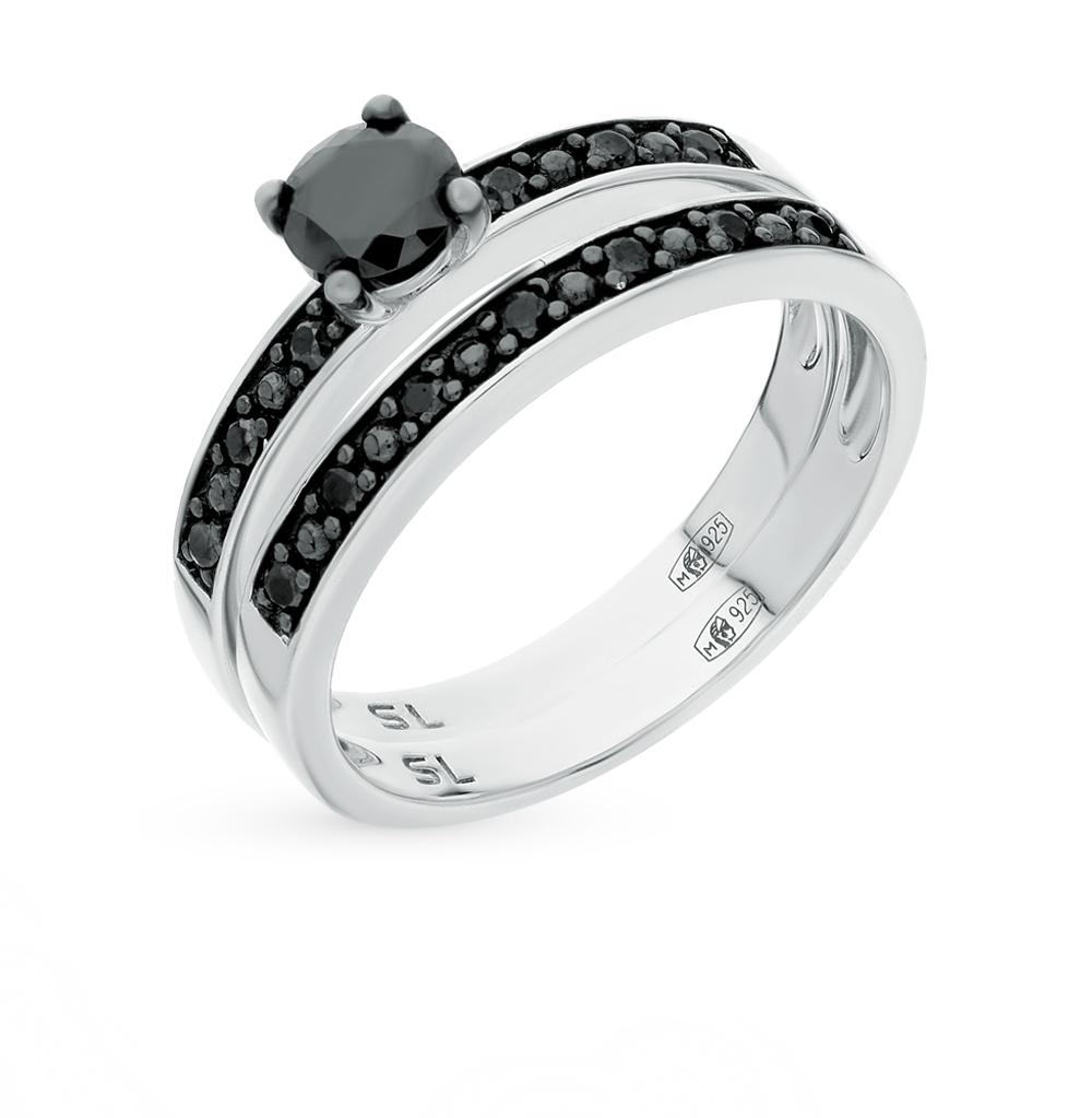 Фото «серебряное кольцо с со шпинелью и ониксами синтетическими»