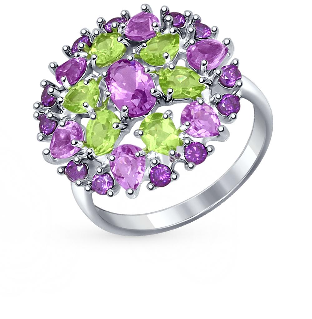 Фото «серебряное кольцо с аметистом, фианитами и хризолитом»