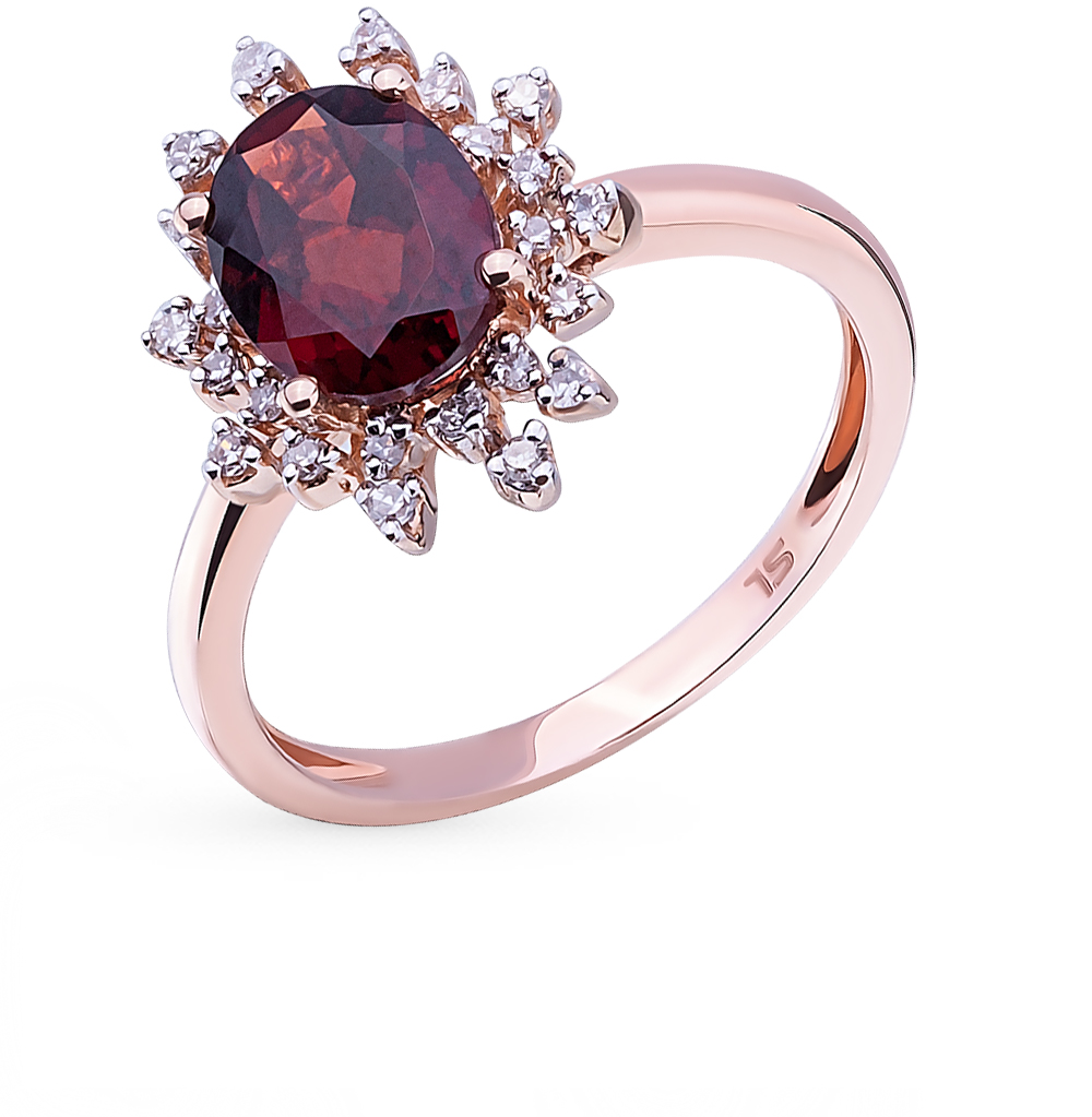 Фото «золотое кольцо с гранатом и бриллиантами»