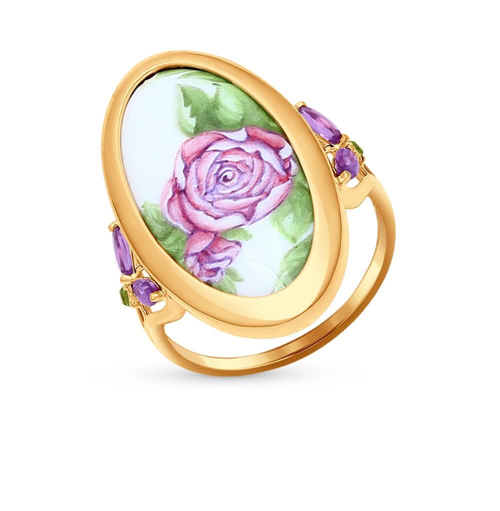 Фото «золотое кольцо с аметистом, фианитами и хризолитом»