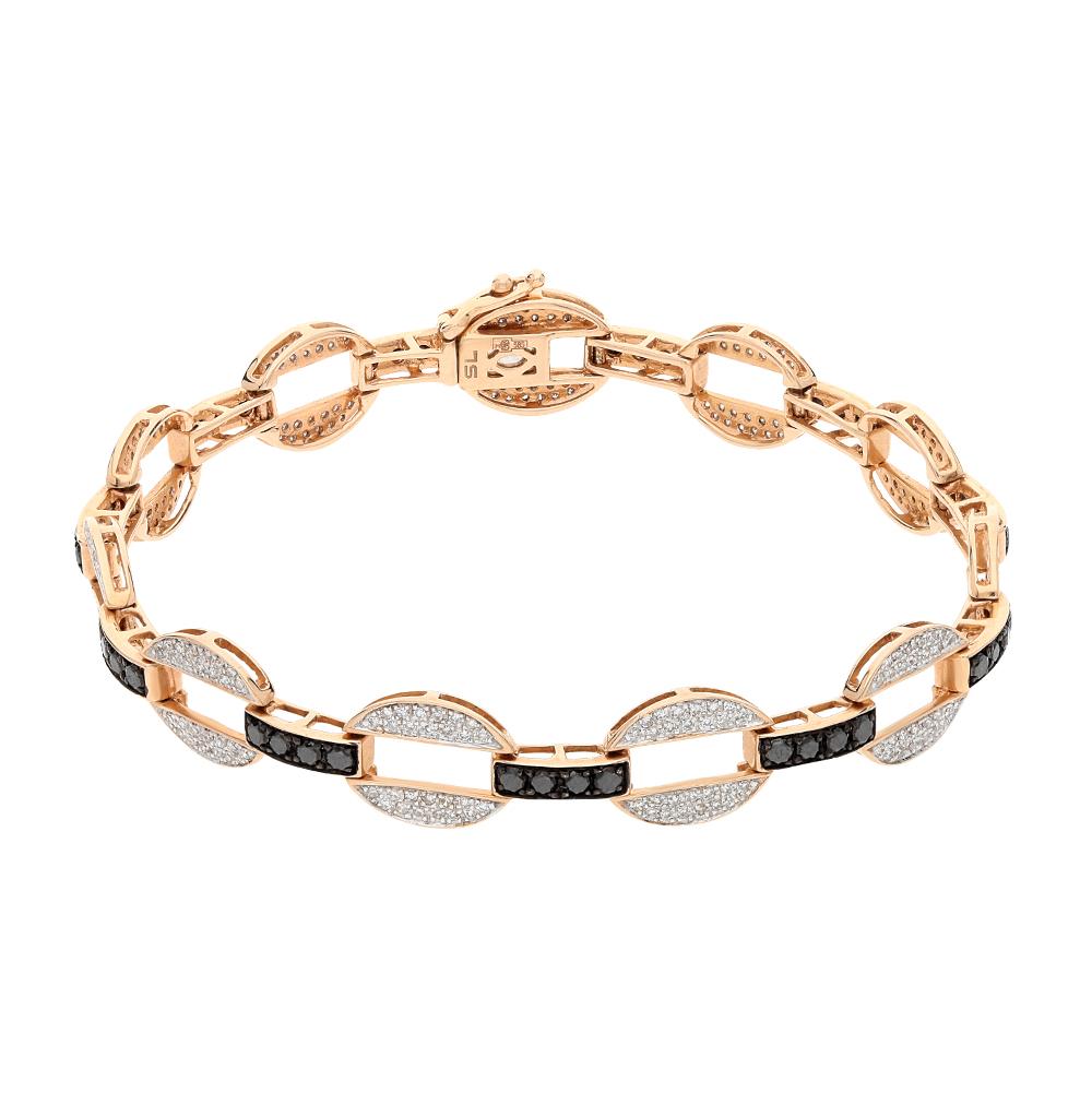 Фото «золотой браслет с чёрными бриллиантами и бриллиантами»