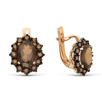 Фото «золотые серьги с фианитами и раухтопазами (кварцами дымчатый)»